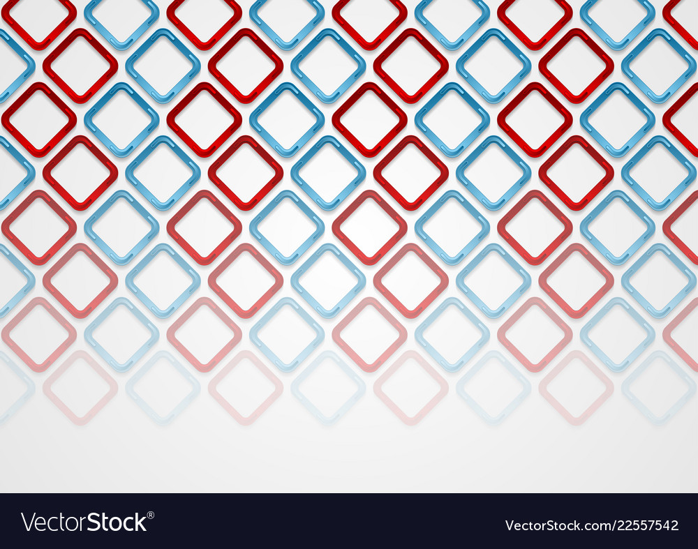 Red blue squares abstract tech pattern background