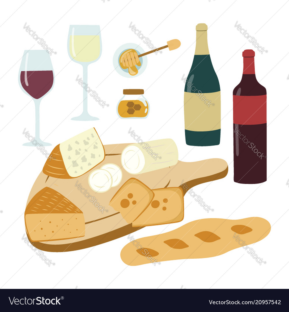 Wine and cheese hand drawn set gourmet