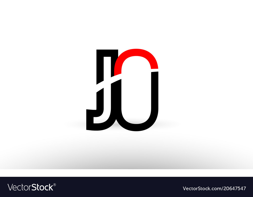 Black White Alphabet Letter Jo J O Logo Icon Vector Image