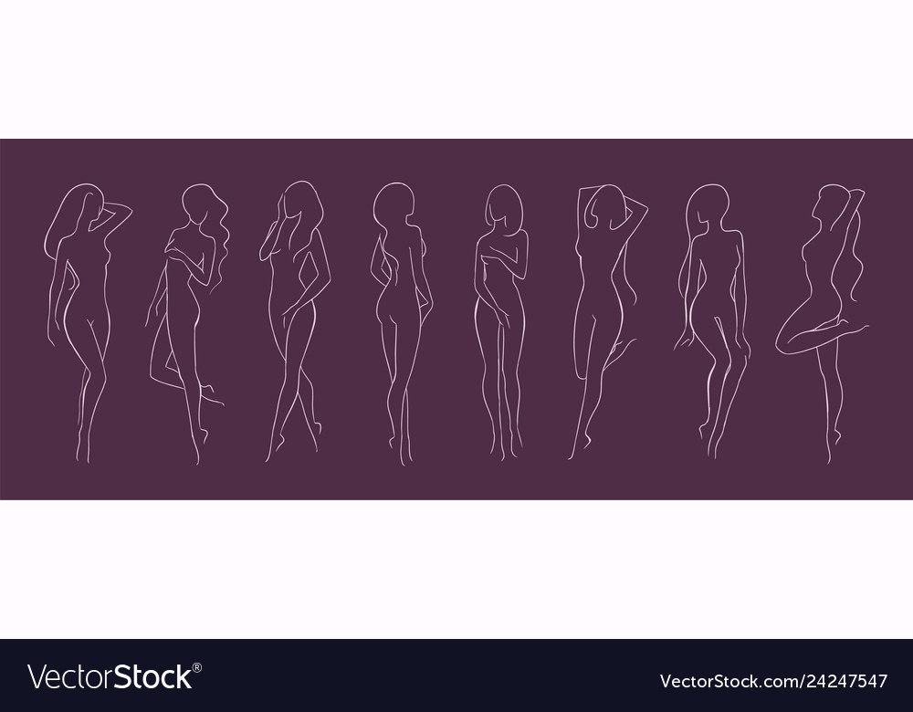 Collection of silhouettes of young beautiful long