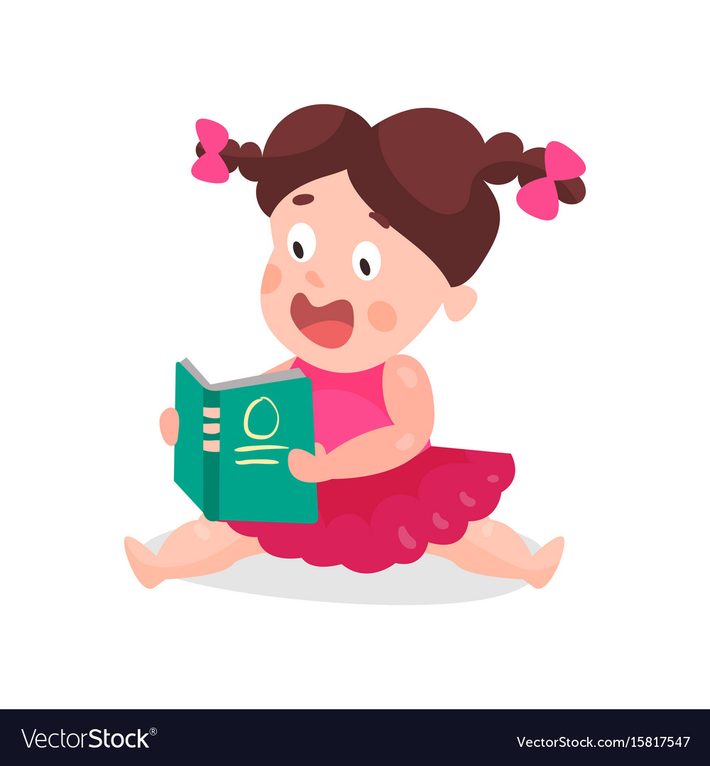 Cute cartoon little boy in a pink dress sitting on