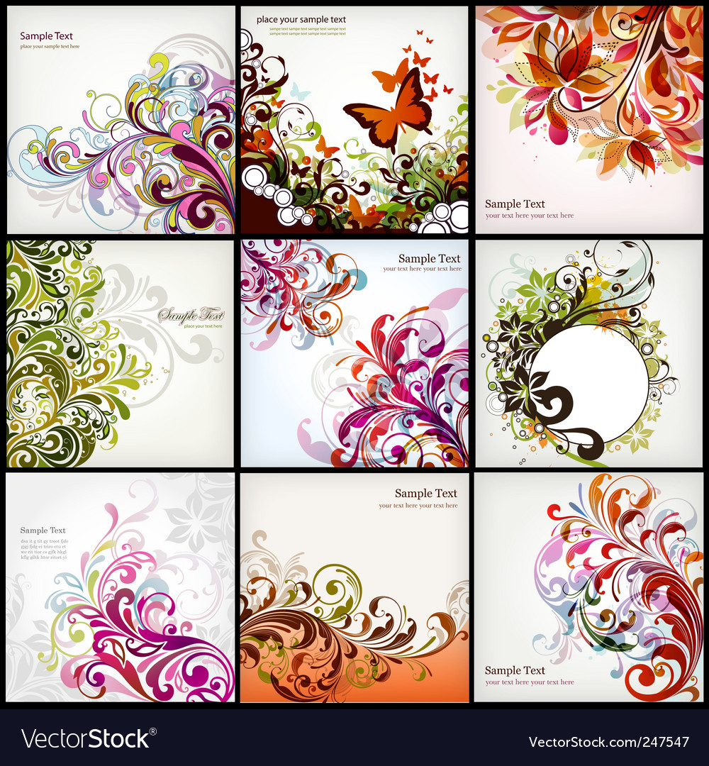 Floral graphics set vector image