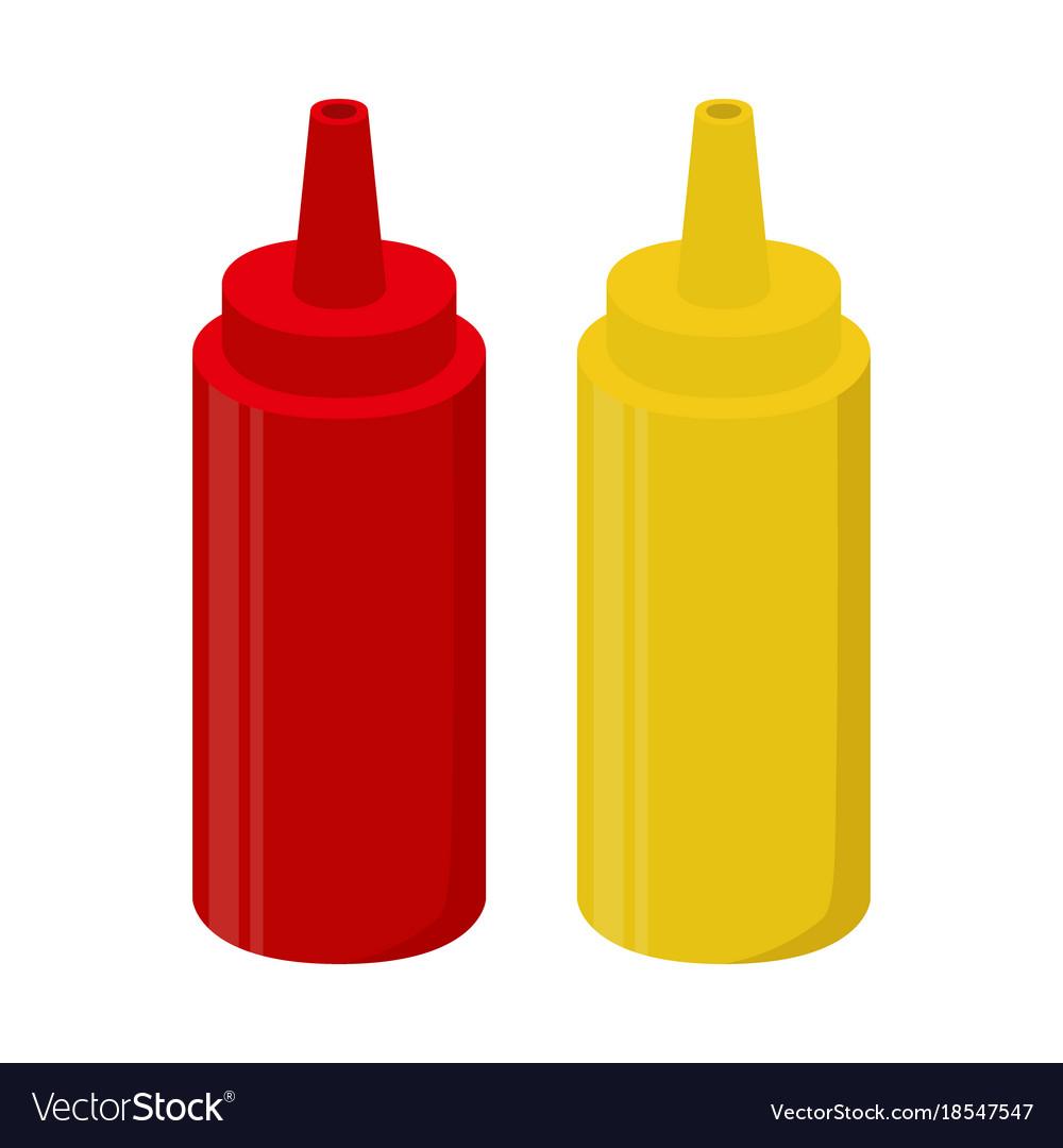 ketchup mustard sauce bottle cartoon flat style vector image