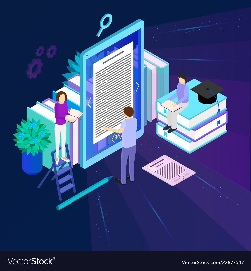 Media book library concept 3d isometric view