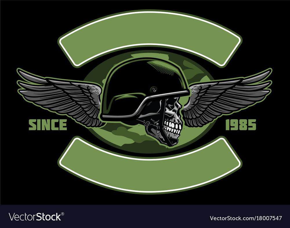 Military skull design vector image