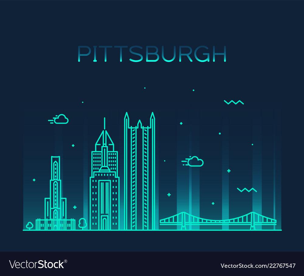 Pittsburgh a skyline pennsylvania usa line