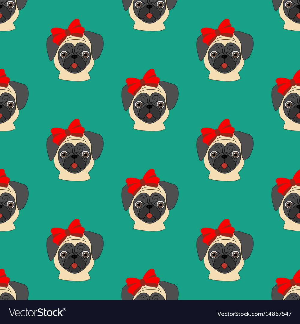 Pug with bow seamless pattern