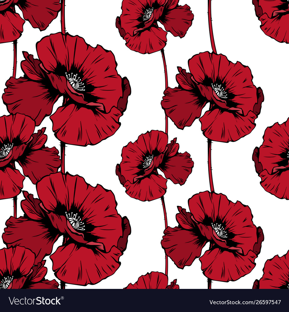 Red poppies hand drawn seamless ink pen pattern