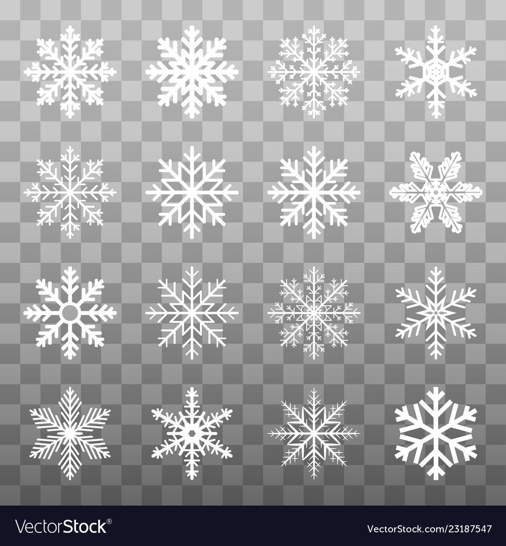 Set white winter snowflake isolated on transparent