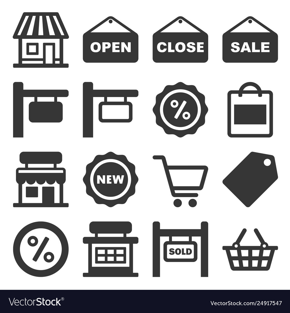 Shop signboard and shopping icons set