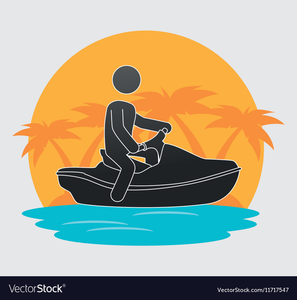 Silhouette man jet ski beach background