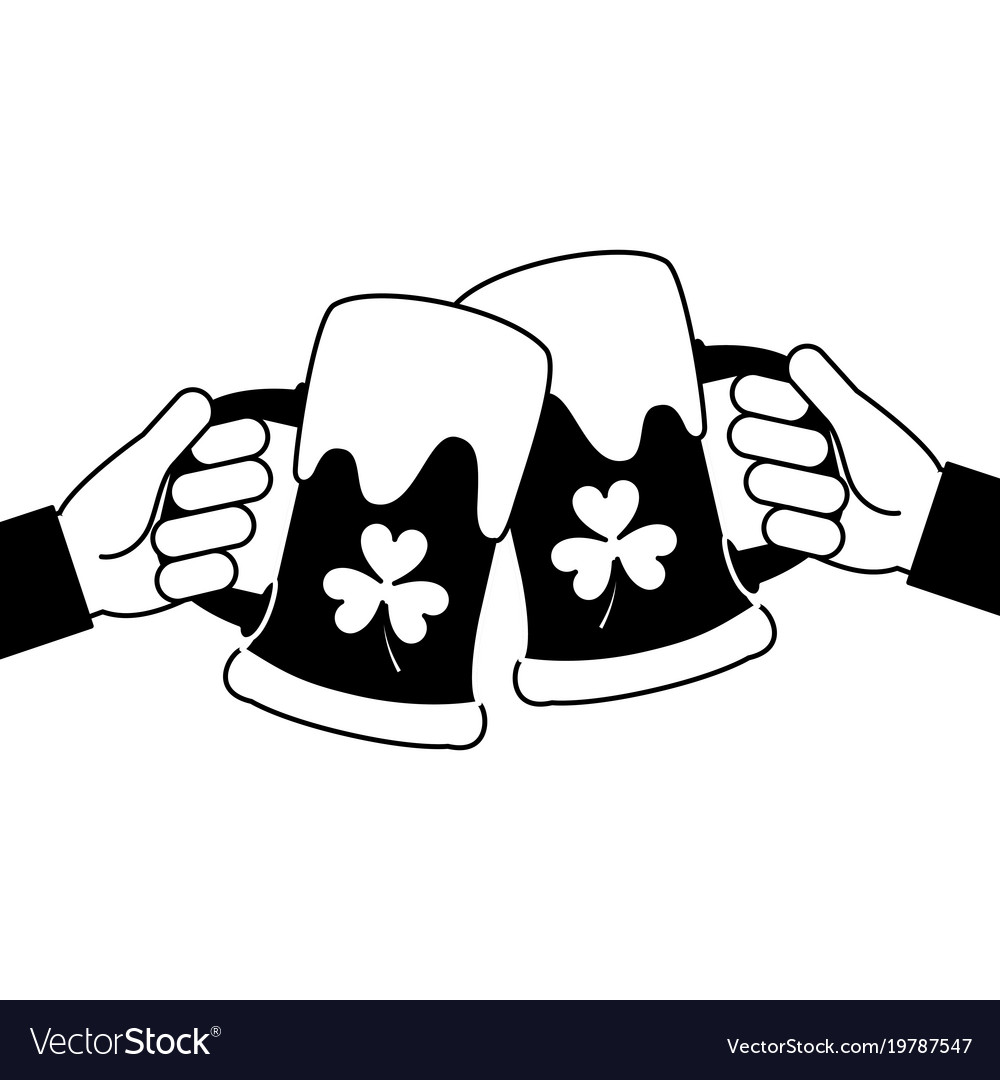 Two Hands Holding Beer Glass Clover Foam Vector Image