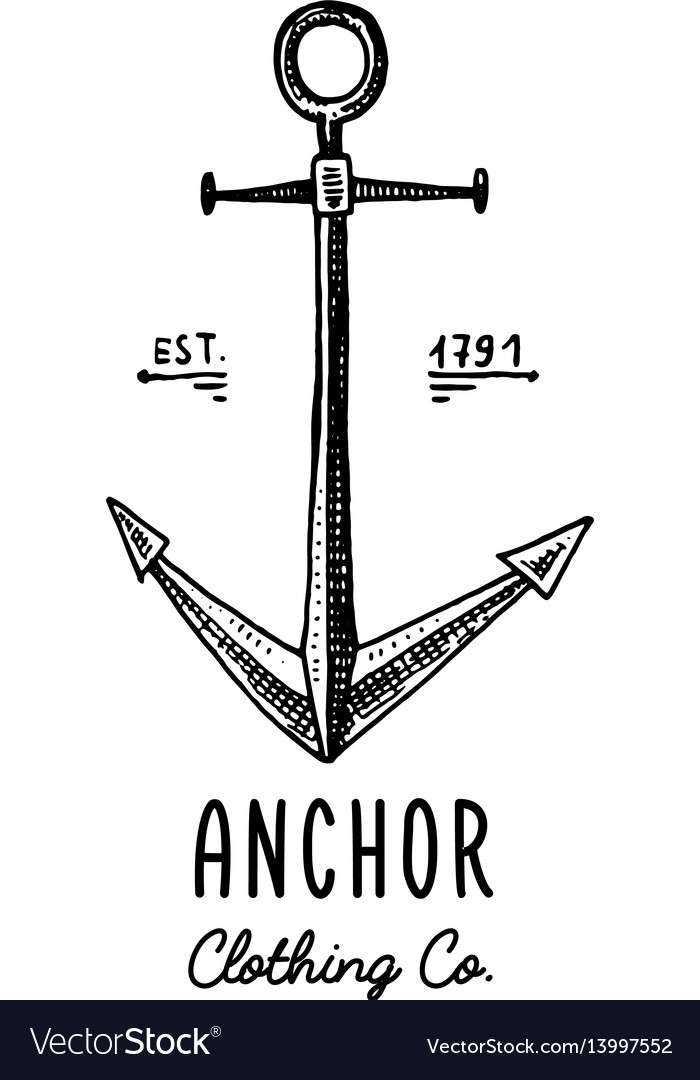 Anchor engraved vintage in old hand drawn or