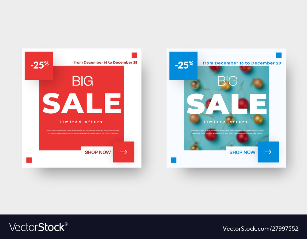 Big sale square banner template with red and blue