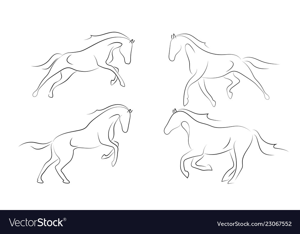 Black line horse on white background running