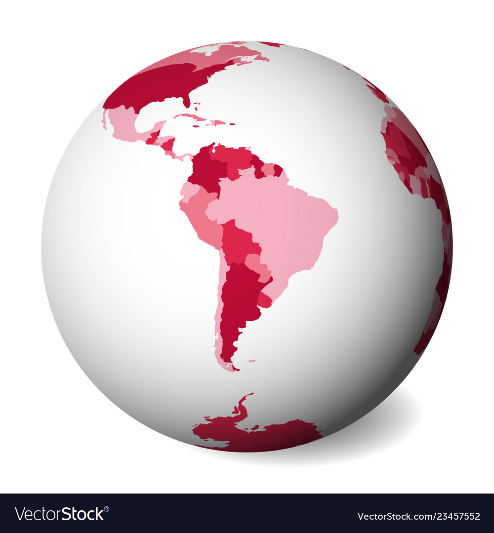 Blank political map of south america 3d earth