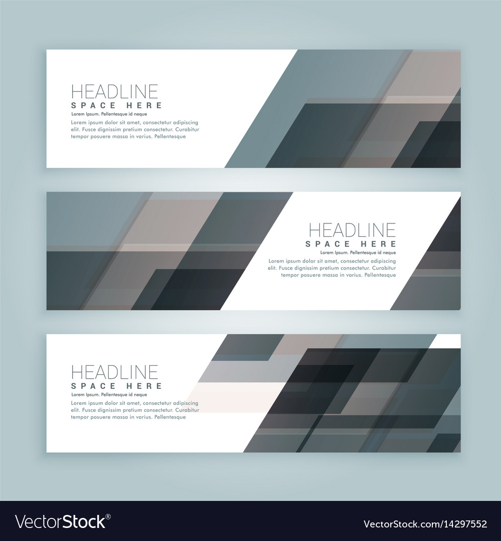 Business style web banners set of three vector image