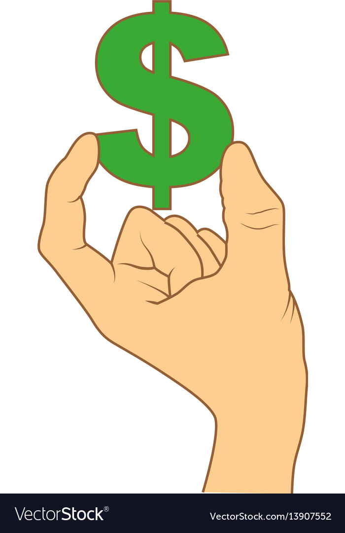 Color silhouette with hand holding currency symbol
