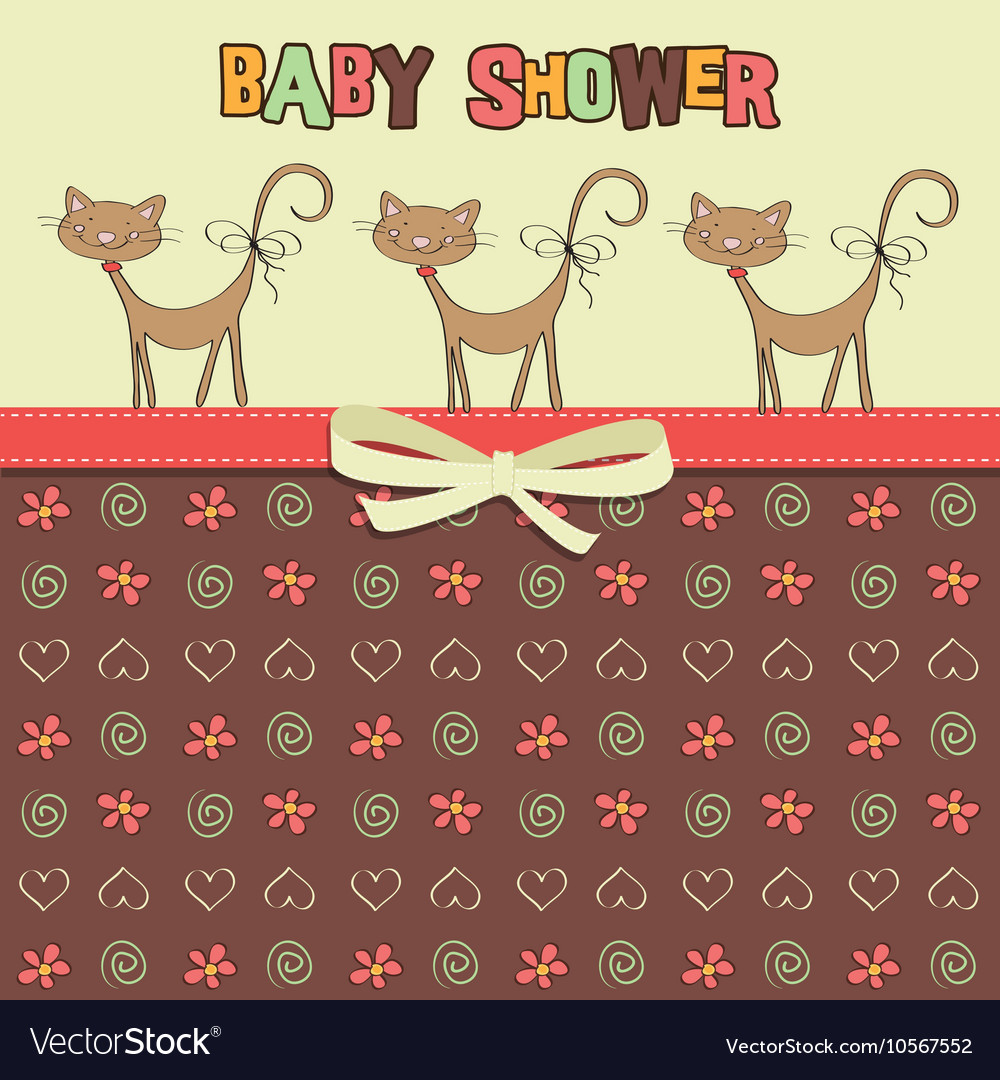 Delicate baby shower card with cats