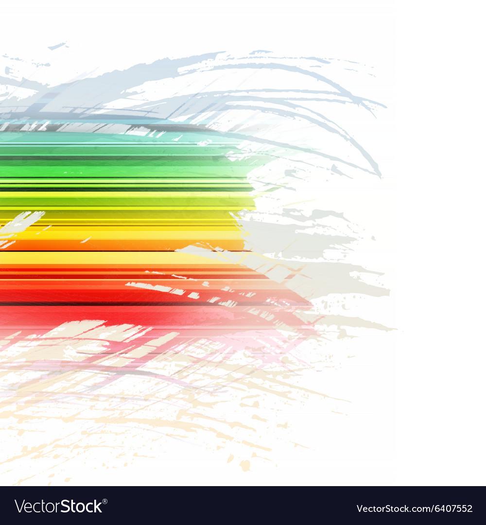 Grunge rainbow brush stroke with stripes on white