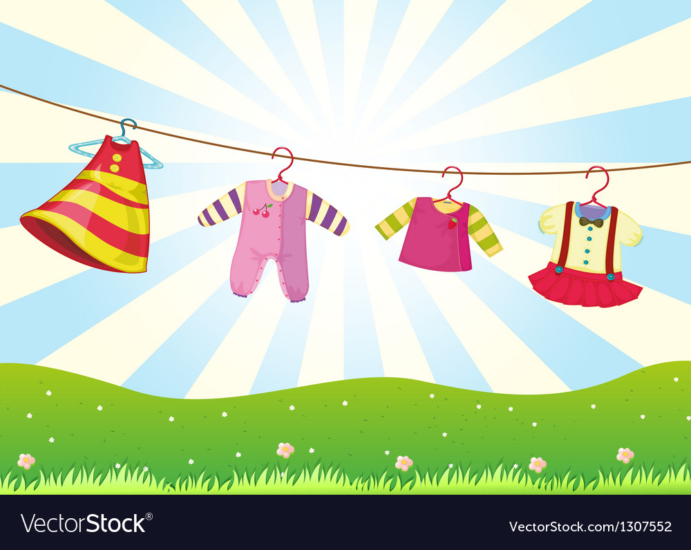 hanging baby clothes in the hill royalty free vector image