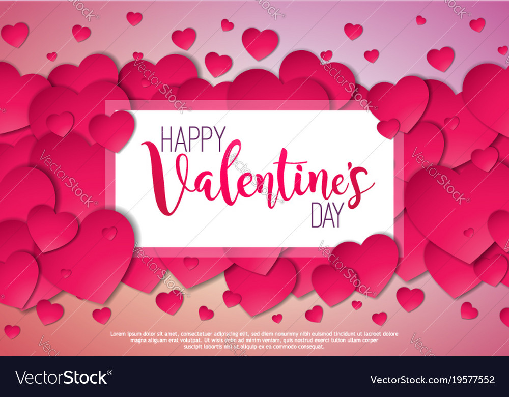 Happy Valentines Day Design With Red Heart On Vector Image