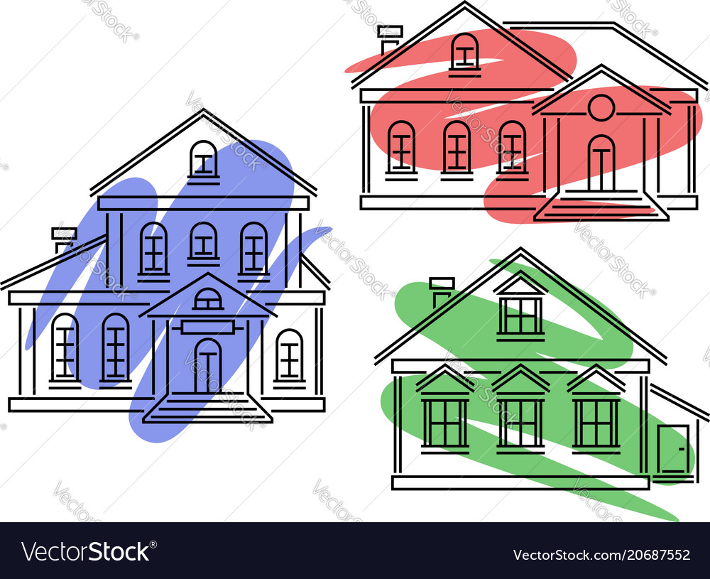 Icons with buildings and dye