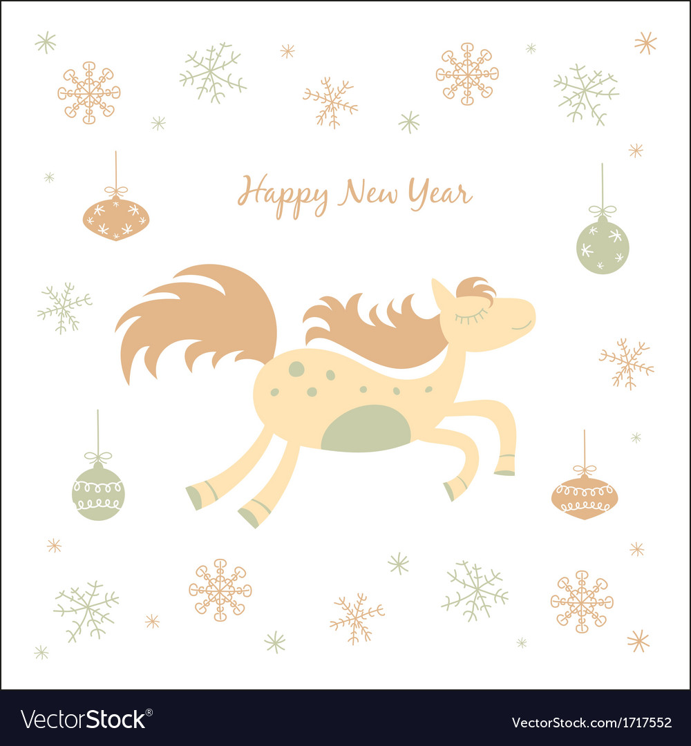 New Year card with a horse
