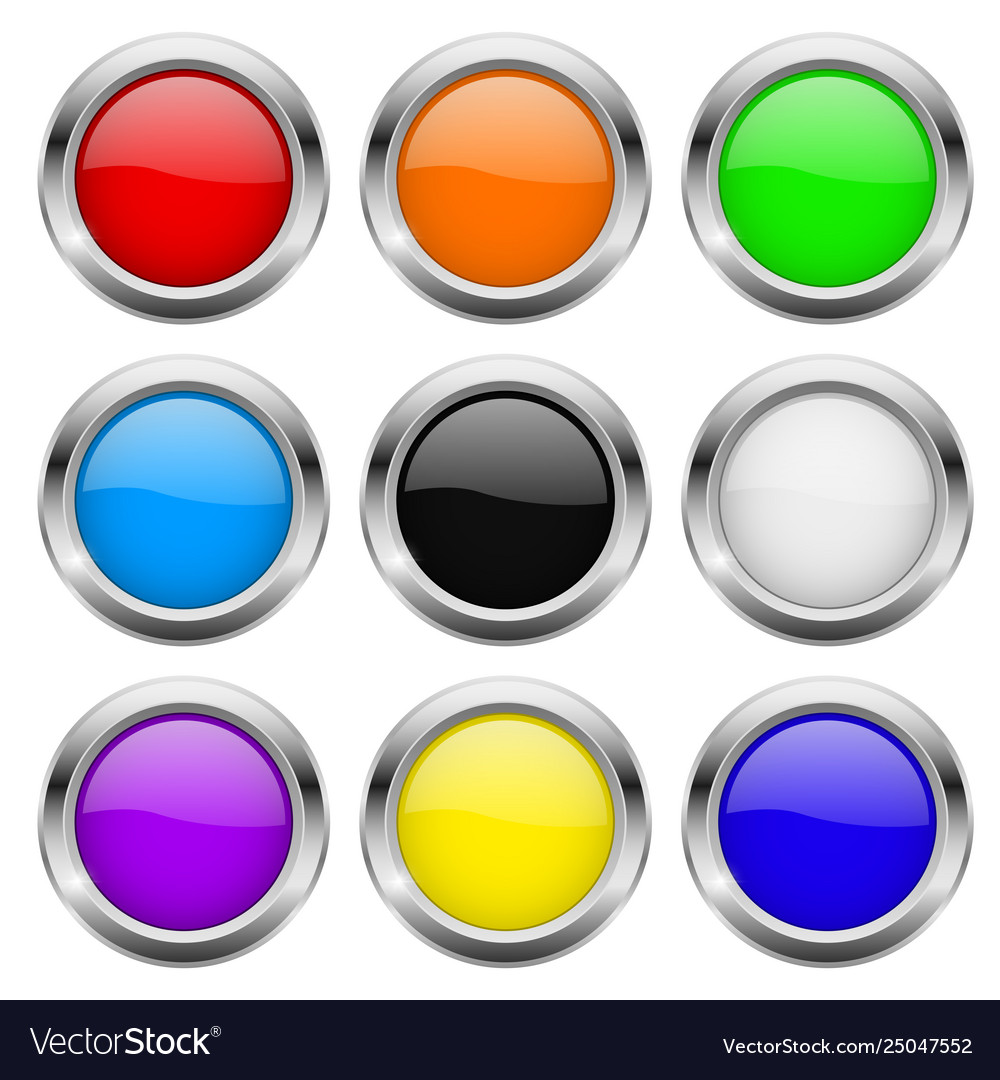 Round buttons glass colored icons with chrome