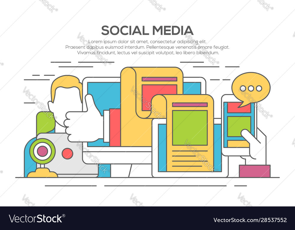 Social media networking thin line flat concept