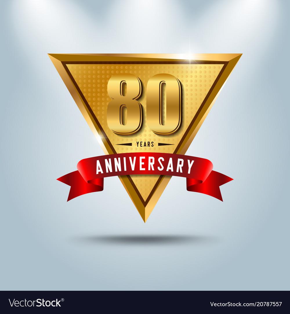 80 years anniversary celebration logotype vector image
