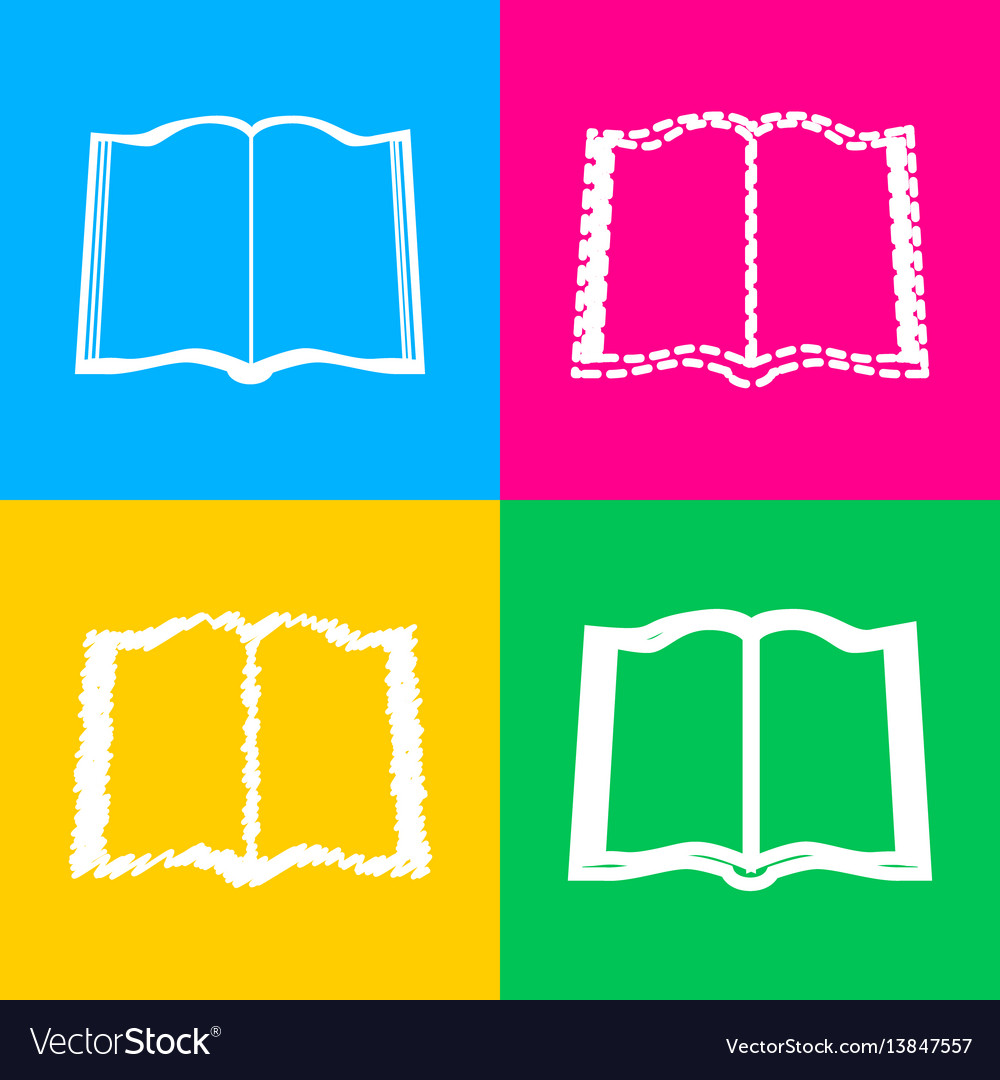 Book sign four styles of icon on four color