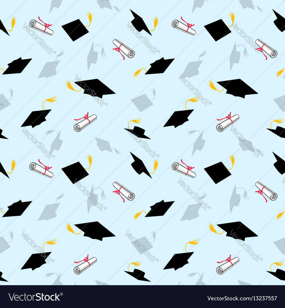 Colored seamless pattern with graduation caps