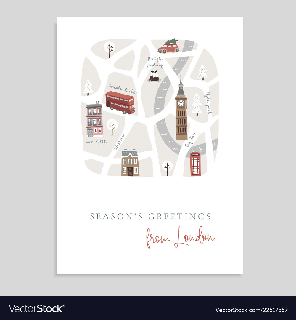 Cute christmas greeting card invitation with map