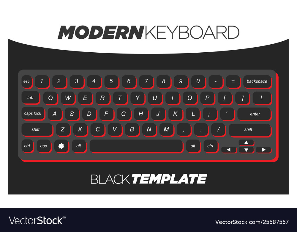 Dark black and red qwerty keyboard element