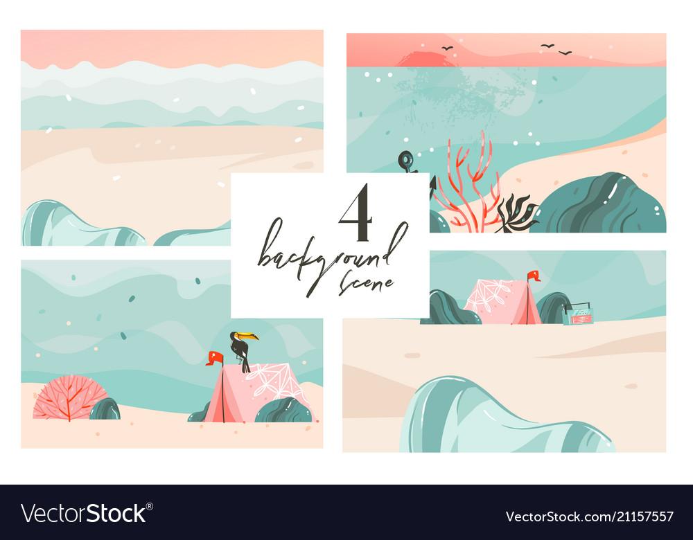 Hand drawn abstract cartoon summer time vector image