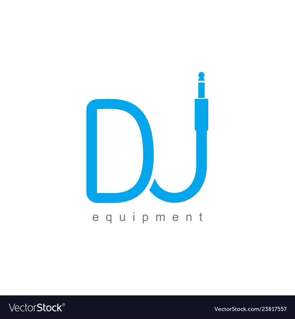 Isolated monogram dj logo template blue wire