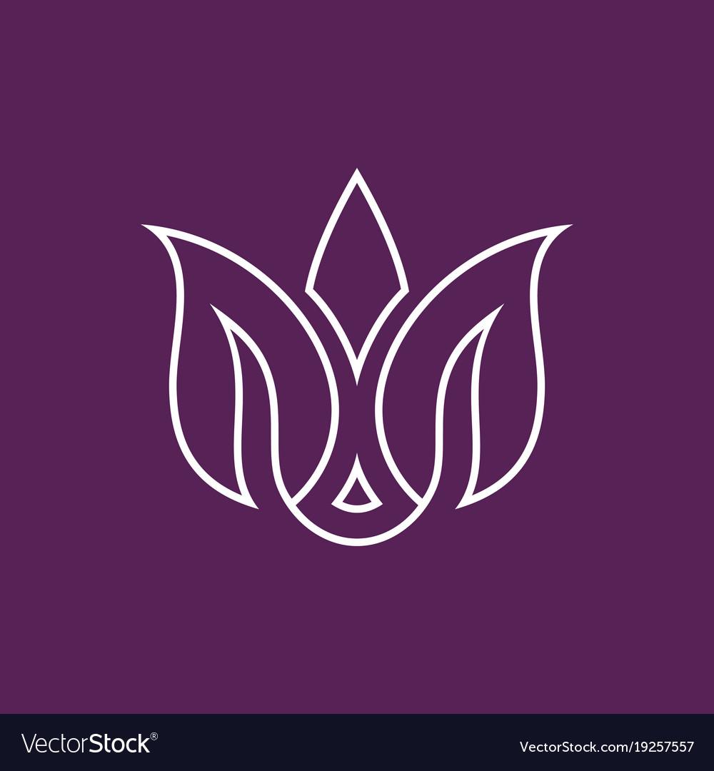Line flower letter m beauty logo