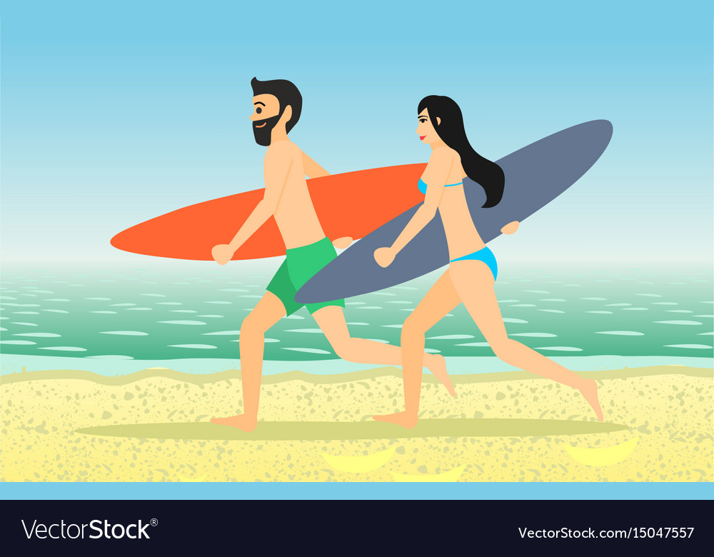 Male and female surfers running vector image