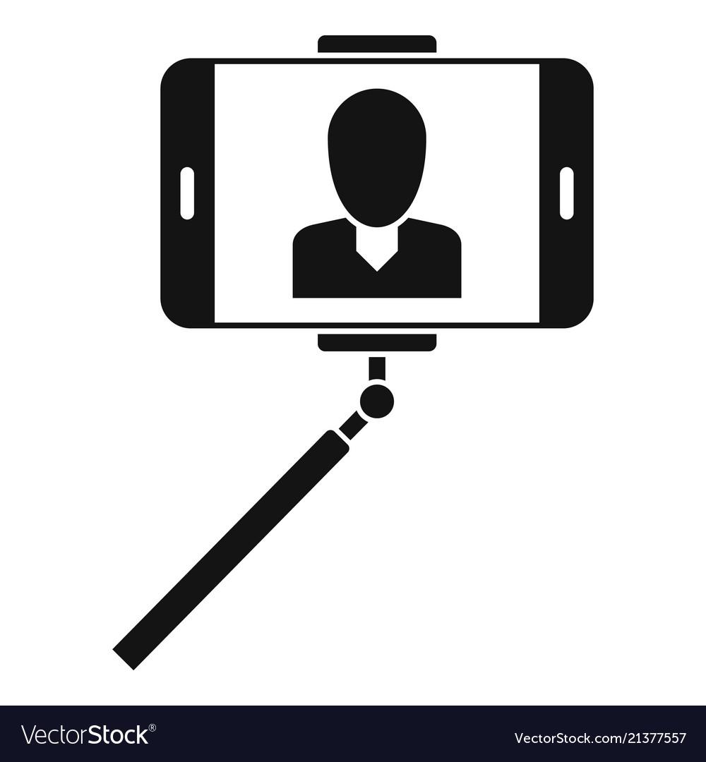 Man take selfie monopod icon simple style