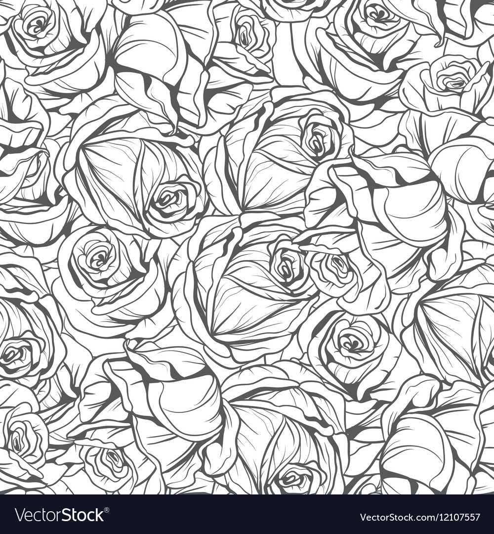 Monochrome pattern flowers roses vector image