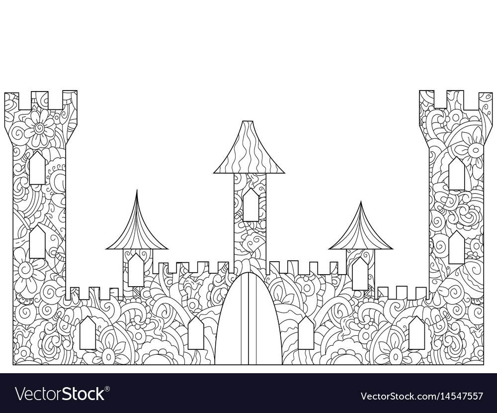 Old castle coloring book for adults Royalty Free Vector