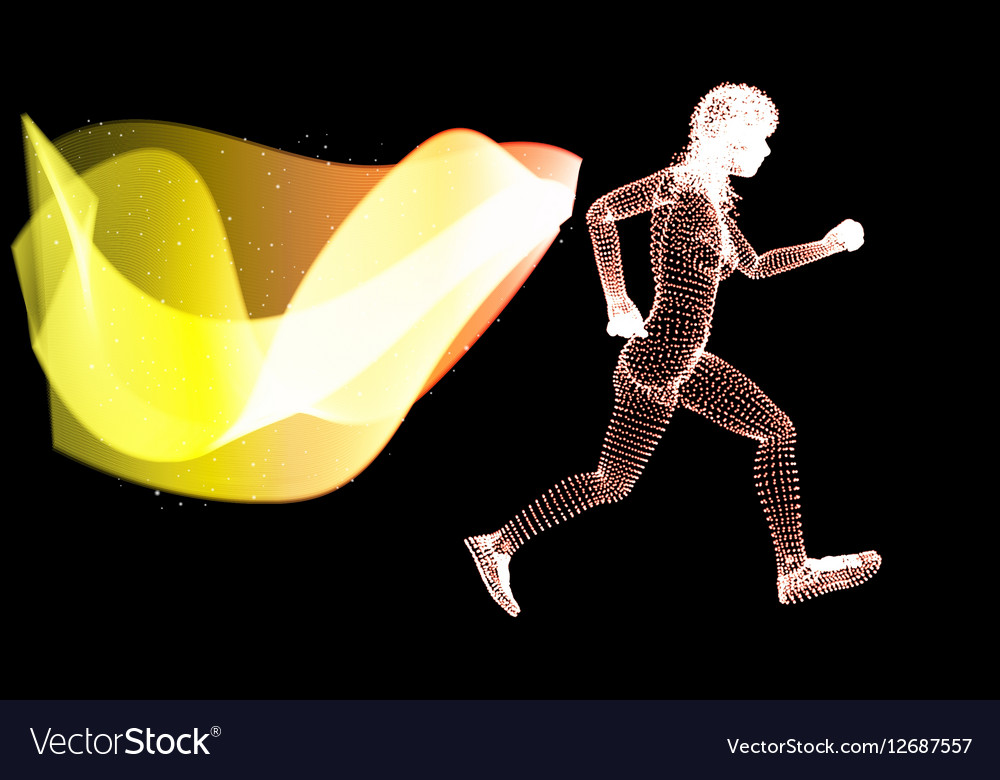 Silhouette Woman athletes on running race vector image
