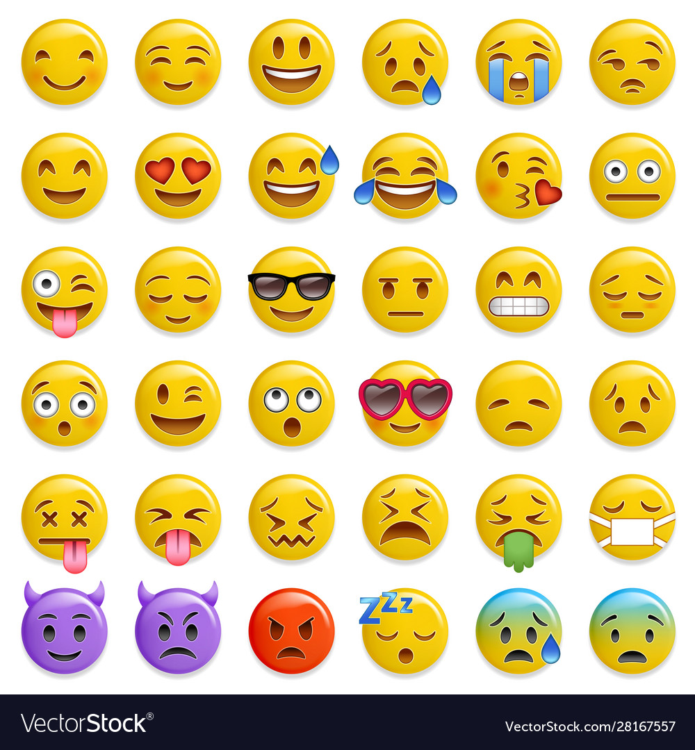 Smileys emoticon glossy set