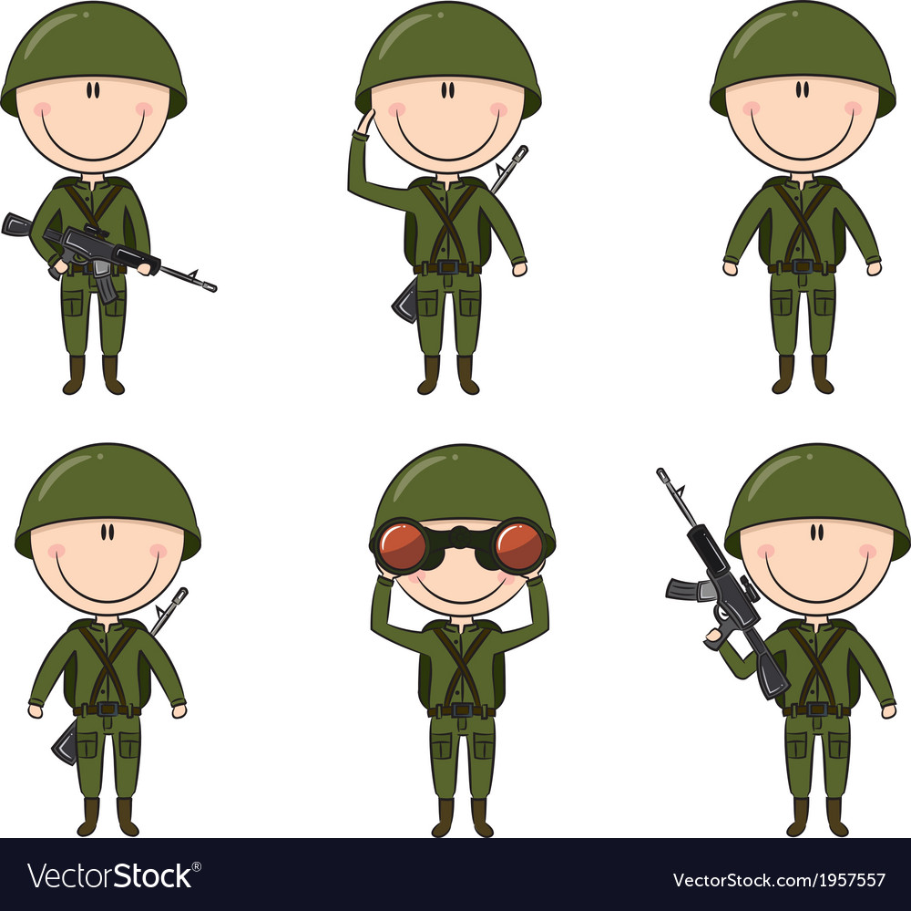 Soldiers in different poses
