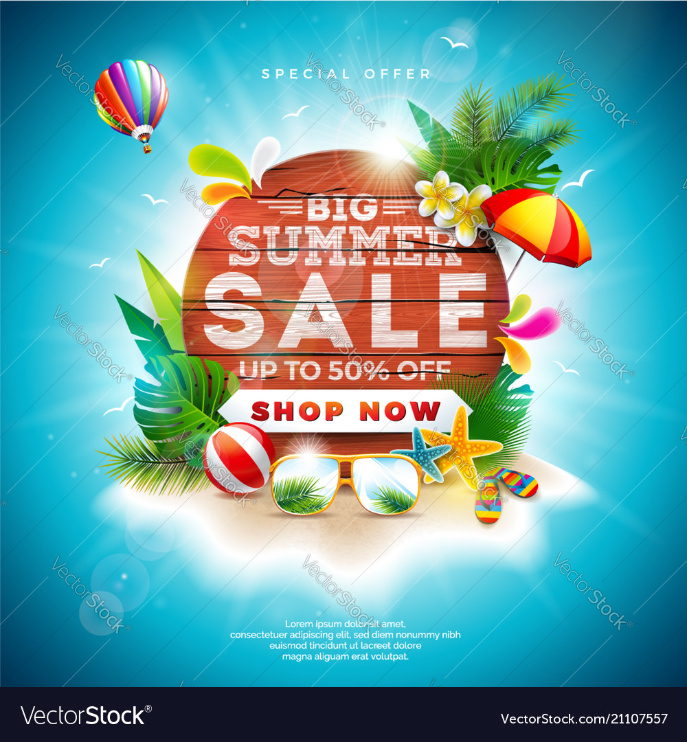 Summer sale design with flower and beach holiday
