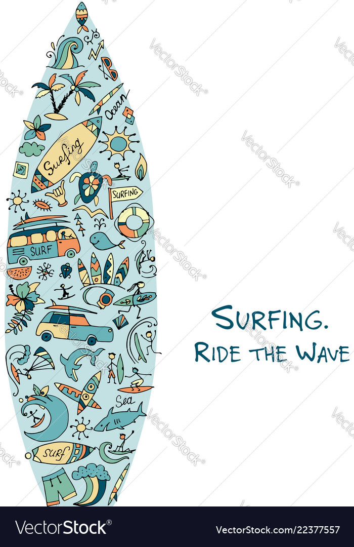 Surfboard sketch design made from surf icons set