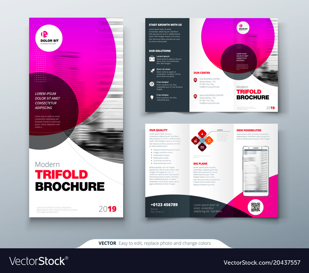 Tri fold brochure design pink business template