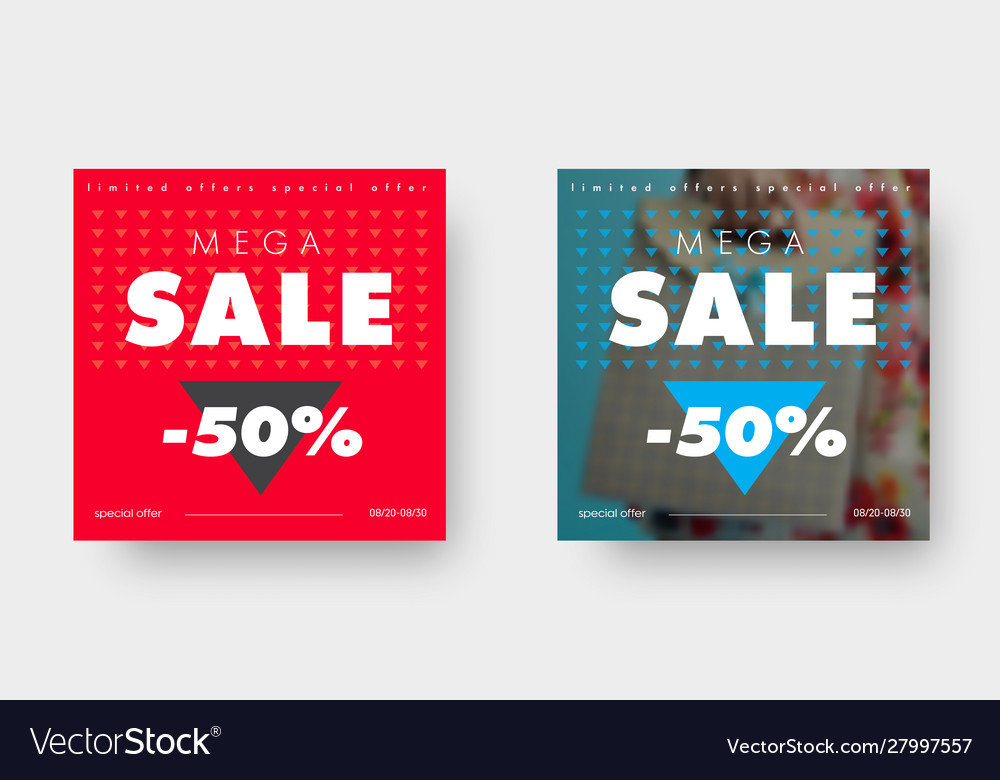 Two square web banners for big sale with triangle