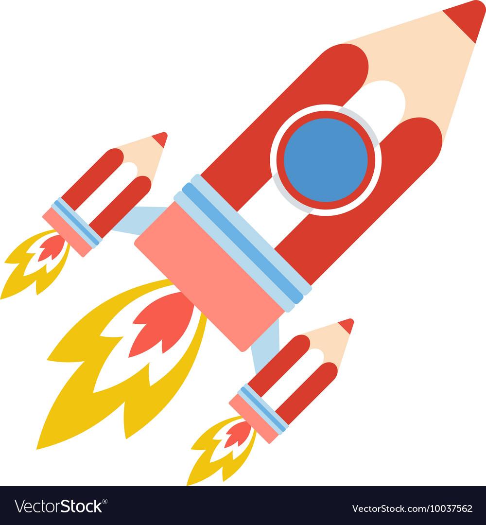 Back to school pencil rocket vector image